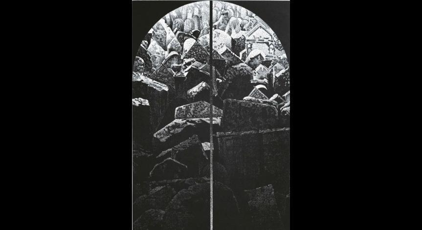 Powiększ obraz:  Stanisław Bałdyga, Ślady II, linoryt, 1989