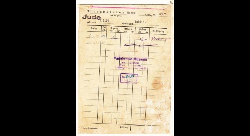 Powiększ obraz: 4. Kartoteka pieniężna żydowskiego więźnia Uszewa Strazmeistera