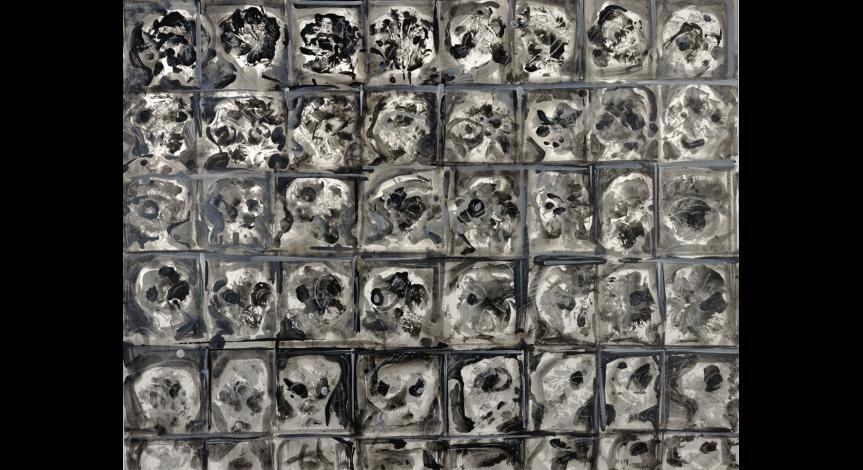 Powiększ obraz: Józef Szajna, Klatka, Inżynieria genetyczna IV, akryl, kreda, 1991