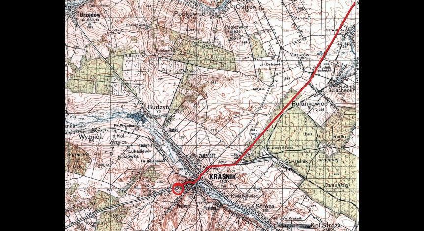Trasa transportu do Kraśnika i umiejscowienie cegielni Pludrów, gdzie  nocowali więźniowie