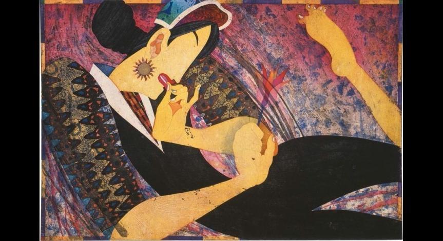 Powiększ obraz: Yuji Hiratsuka, Contortionist R, intaglio, relief, tusz chiński, 1998