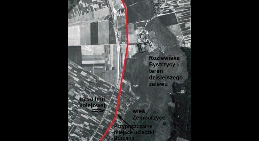 Przemarsz kolumny więźniów przez Zemborzyce i miejsce ucieczki A. Burcana
