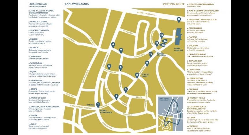Powiększ obraz: Mapa zwiedzania wystawy Dzielnice zagłady